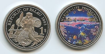 PA37 - Palau 1 Dollar 1993 KM#3 Marine Life Protection Multicolor Farbmünze