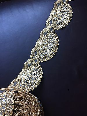 "1 meter gold 3"" diamante lace trim pearls mirrors beads ribbon border edge sew"