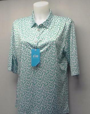 New Ladies Medium NiVO  polyester 1/2 sleeve golf polo shirt Aqua green print