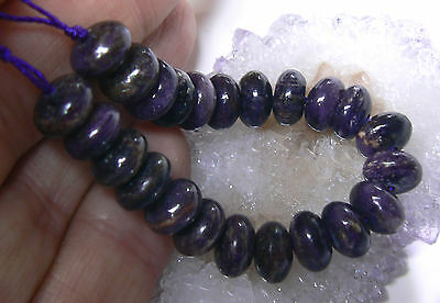 23 NATURAL UNTREATED AFRICAN PURPLE SUGILITE BEADS STRAND 8mm RONDELLES 60ctw