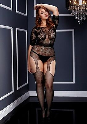 Baci Crotchless Suspender Plus Bodysuit Xl/xxl