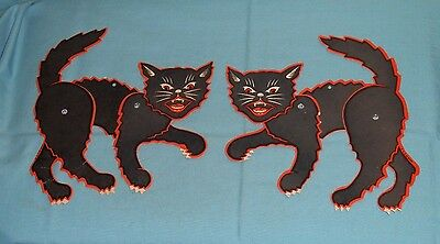 vintage Halloween JOINTED CAT DECORATION SET OF 2 cutout diecut
