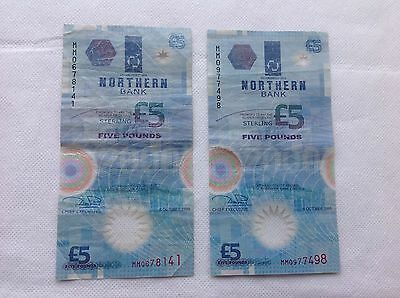 Pair of Northern Bank polymer plastic £5 banknotes, 1999