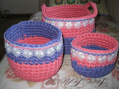 3 size set t-shirt yarn crocheted baskets for your home decor hand make