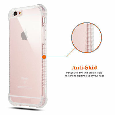 For iPhone 6 6s Shockproof Clear Gel Case Cover Tempered Glass Screen Protector