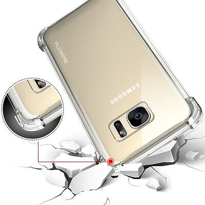 For Samsung Galaxy S7 Edge ShockProof Clear Case Cover Tempered Screen Protector