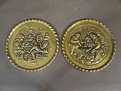 2 Vintage Peerage Embossed Brass Tarvern Scene Wall Plate Made In England (A-1)