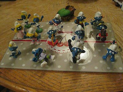 Lot of 14 Vintage Schleich Peyo Smurf Toy Figures Good + Accessory