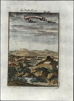 Cusco Cuzco Peru Andes Mts. Inca Empire 1719 antique early city view print