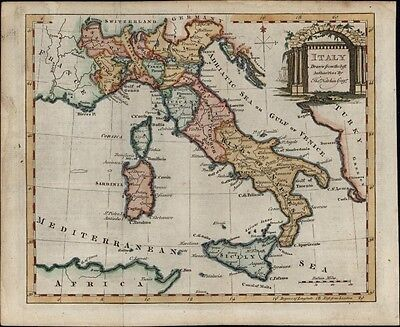Italy 1782 by Thomas Kitchin lovely decorative antique map hand colored