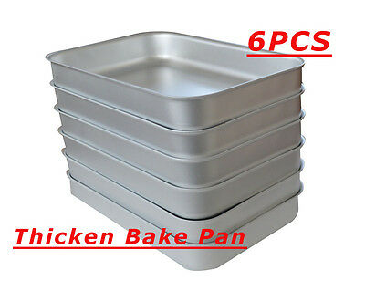 6PCS Thicken Bake Pan Aluminum Sheet Pans New Commercial Baking Bun Pan FOOD