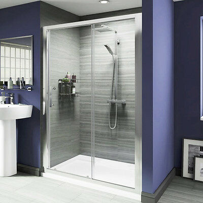 Shower Enclosure and Tray Sliding Door Side Panel Walk in Free Waste