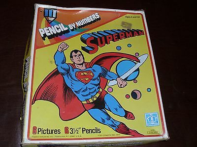 Vintage Superman Pencil By Numbers Set Hasbro JLA Rare Superfriends Nice 1977