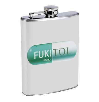 Fukitol Prescription Pill R1 Flask 8oz Stainless Steel Hip Drinking Whiskey Fun