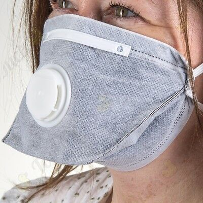 PACK OF 50 FOLD FLAT CARBON VALVED RESPIRATORS Disposable PPE Health/Safety DIY