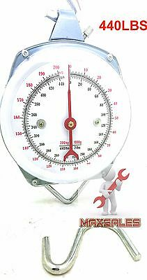 New 440lbs Spring-Dial Hoist Scale Hang Up Dial Weight Accurate Produce Food