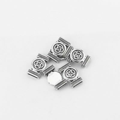 10pcs Silver Round Chinese Knot Silde Spacer Charm Fit 10*2mm Flat Leather AVV