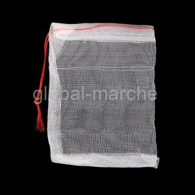 Lot de 20 Sac de Filet Nylon Pochette à Cordonnet 15x10cm Aquarium Jardin • EUR 3,18