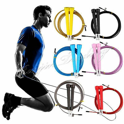 Fitness Adjustable Speed Skipping Jumping Rope Boxing Gym CrossFit Steel Cable