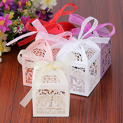 25/50/100  Luxury Wedding Favour Favor Sweet Cake Gift Candy Boxes Table Deco