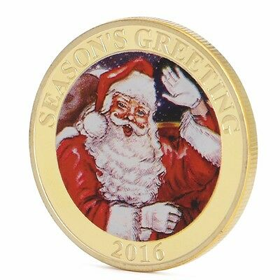 Gold Plated 2016 Merry Christmas Commemorative Coin Santa Moon Deer Collection