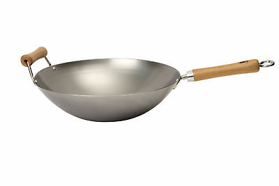 School of Wok Carbon Steel Flat Bottom Wok, 36cm 14 Inch All Hobs Induction New