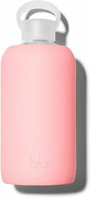 Glass Water Bottle with Soft Silicone Sleeve, BKR, 1 Liter Elle