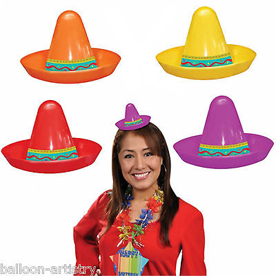 8 Assorted Wild West Mexican Fiesta Festivity Party Mini Plastic Sombrero Hats