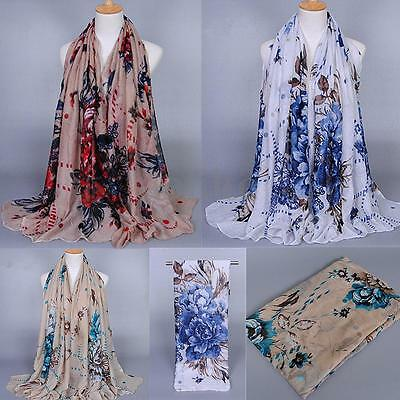Fashion Women Long Soft Chiffon Scarf Floral Wrap Voile Scarves Shawl Stole New