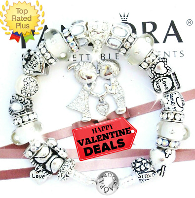 """Authentic PANDORA Silver Bracelet with Kissing """"A LOVE STORY!"""" European Charms"""