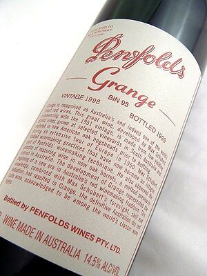 1998 PENFOLDS Bin 95 GRANGE Shiraz Unique Laser Code EW999 Isle of Wine