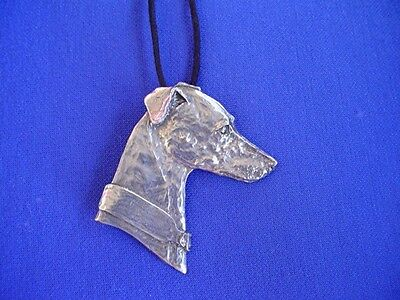 Whippet Greyhound Head study Necklace #11F Pewter Dog Jewelry by Cindy A. Conter