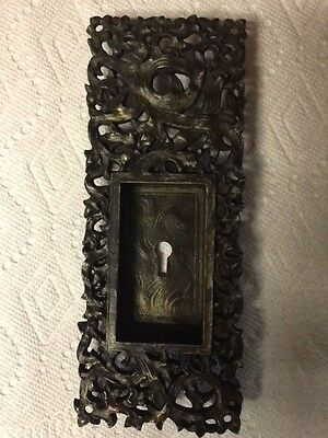 "Antique Yale & Towne ""Kelp"" Gothic Victorian Brass Pocket Door Pull Handle Y&T"