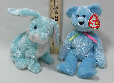 Ty Beanie Babies Stuffed Animals Sherbert Blue Teddy Spring Aqua Bunny Lot of 2