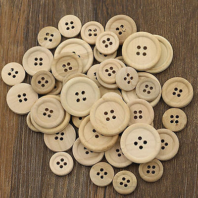 50 Pcs Mixed Wooden Buttons Natural Color Round 4-Holes Sewing Scrapbooking J