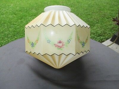 Antique Art Deco Ceiling Glass Globe Pendant Light Shade Octagon Painted Panels