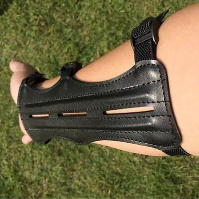 Black Leather 3 Straps Hunting Shooting Bow Target Archery Arm Guard Protector