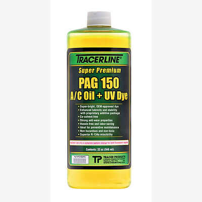 Tracerline TD150PQ Air Conditioning Pag Oil w/ Dye, 150 Viscosity, 32 oz Bottle