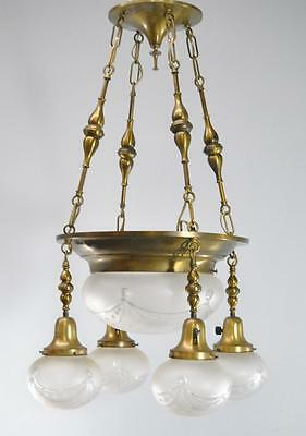 5 Light Brass Chandelier W/ Large Frosted Bowl & 4 Frosted Globe Hanging Shades