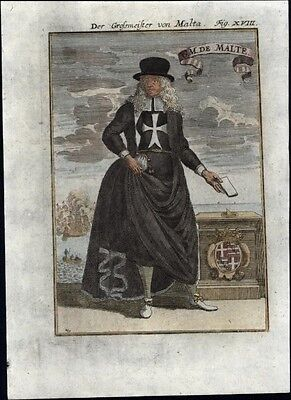 Malta grand master 1719 charming antique engraved hand color print