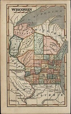 Wisconsin state 1854 Phelps uncommon charming small antique hand color map