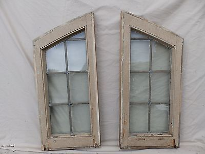 Pair Antique Leaded Glass Sidelight Windows Old Gothic Vtg Tudor Cottage 1836-16