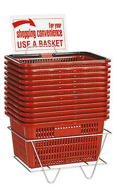 "Shopping Baskets Set of 12 Red Standard Handles Plastic w/ Metal Stand 12"" x 17"""