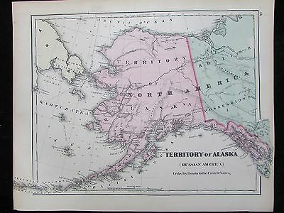 Territory Alaska Russian America 1876 scarce lovely antique map hand color Gray