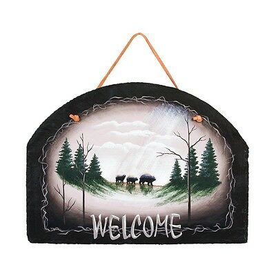 New Rustic Cabin Lodge Black Bear Welcome Painted Slate Sign Wall Hanging