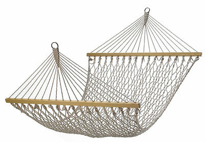 Prime Life Cotton Rope Double Wide Hammock with Solid Wood Spreader