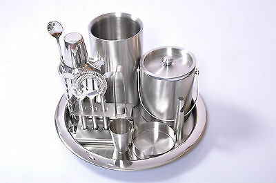 Stainless Steel Bar Set 9 Piece For Home Cocktail Shaker Ice Bucket Accessories