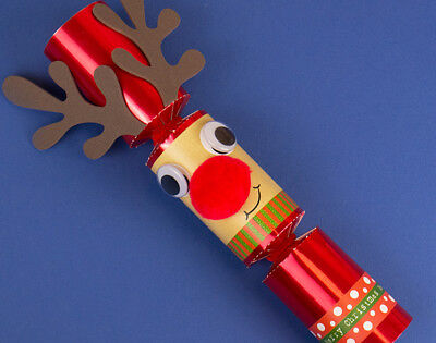 Single Red Foil Standy Uppy Rudolph DIY Christmas Cracker Kit