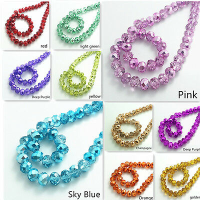 Wholesale Half Plated Rondelle Faceted Crystal Glass Loose Spacer Beads 4mm~10mm