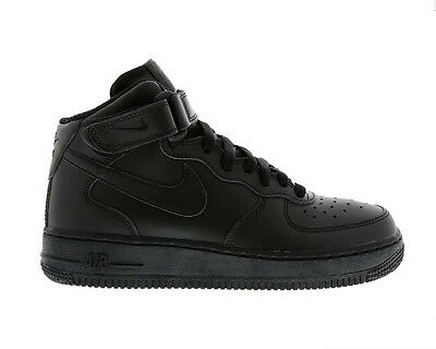Boys Girls  Nike Air Force 1 Black Mid Trainers Sneakers Shoes 314196004